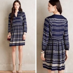 Holding Horses Farica Navy Blue Chevron Dress